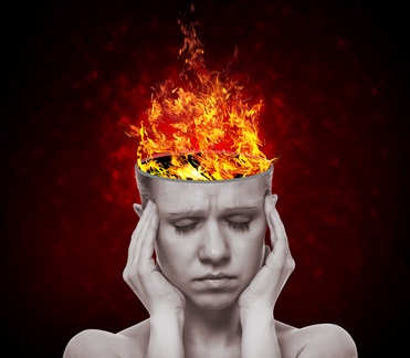 woman with head on fire