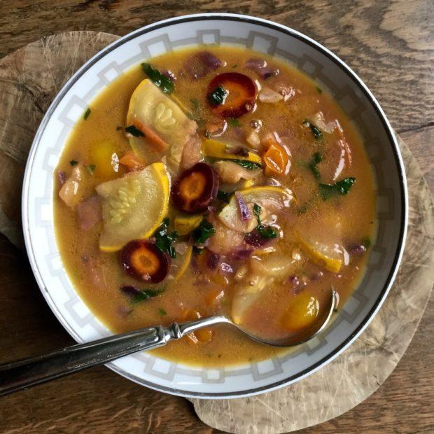 Autumnal garden vegetable soup