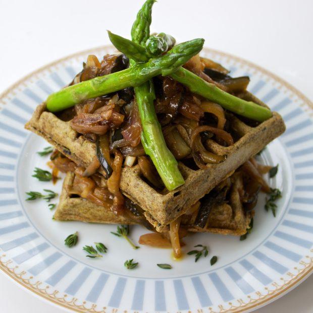 Savoury Waffles with Zucchini Chutney & Asparagus
