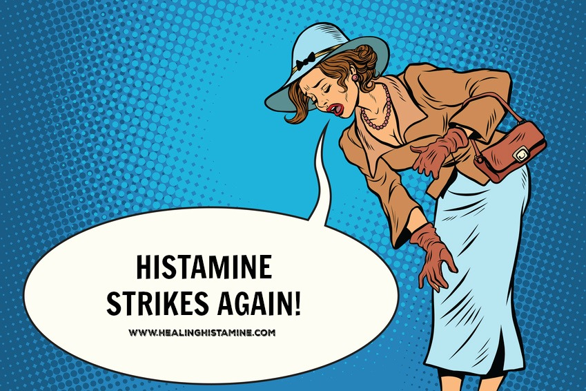 "retro cartoon woman bending over text bubble reads ""histamine strikes again!"""